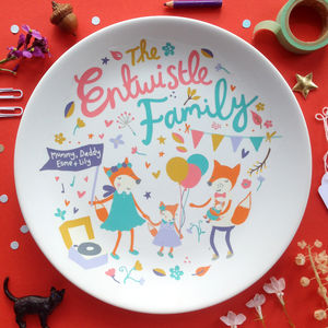 Personalised Woodland Animal Family Plate