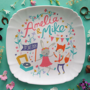 Personalised Woodland Wedding Plate