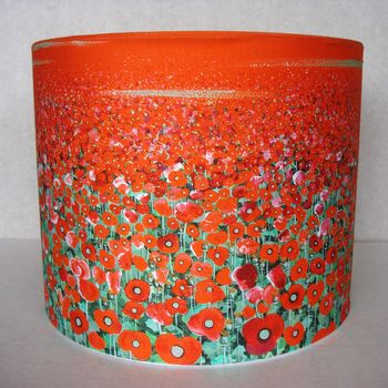 Red Poppy Art Print Fabric Lampshade