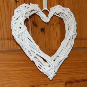 White Wicker Heart Decoration - room decorations