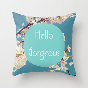'Hello Gorgeous' Floral Cushion Cover