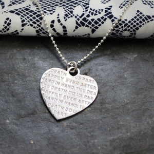 Engraved Inspirational Heart Charm Necklace