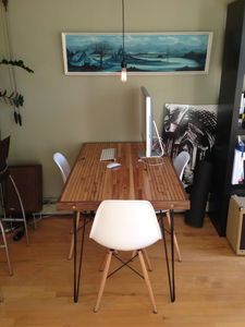 Small Dining Table Maple And Walnut Hairpin Legs - desks