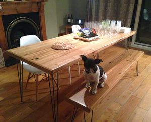 Oak Dining Table Reclaimed Timber Hairpin Legs - furniture
