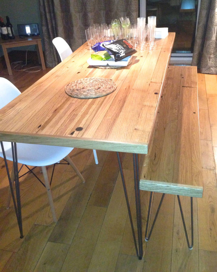Oak Dining Table Reclaimed Timber Hairpin Legs By Wicked