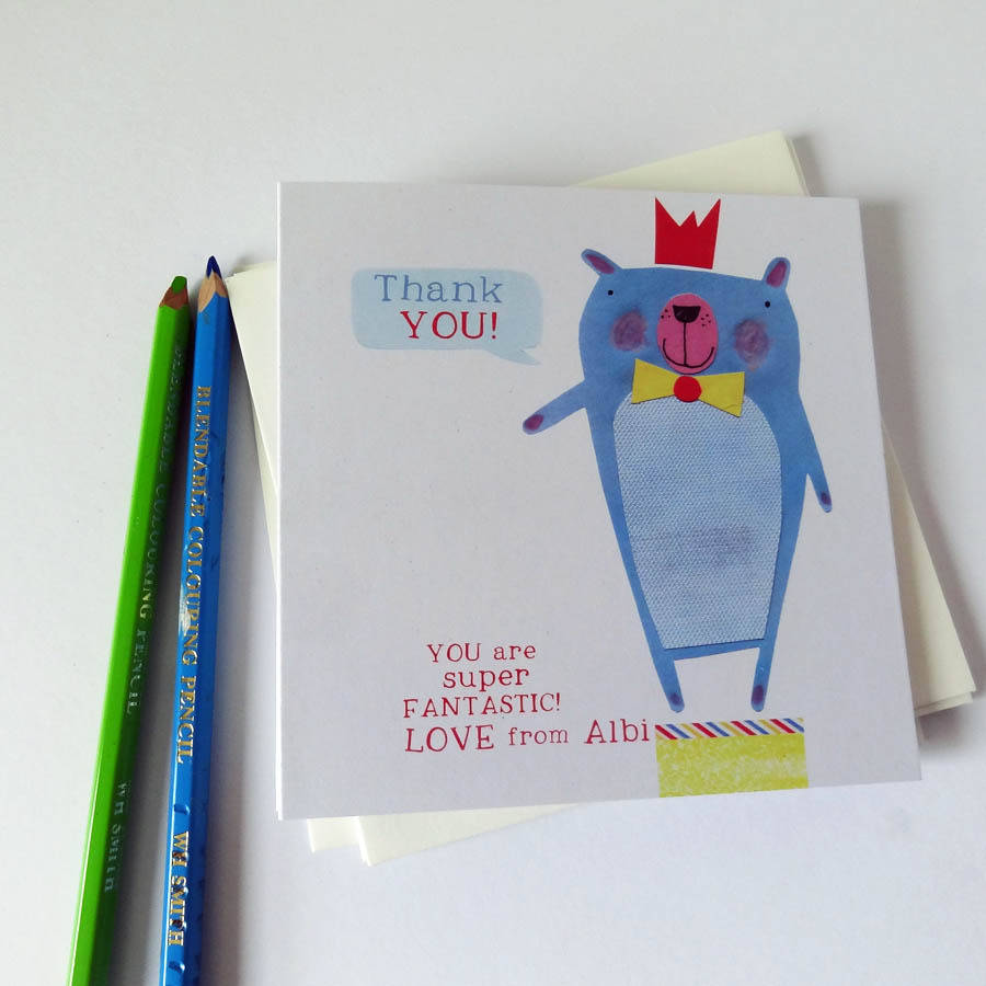 personalised super fantastic thankyou cards by alice palace