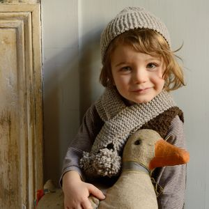 Child Size Charlie Pompom Hat And Scarf Knitting Kit - hats, scarves & gloves