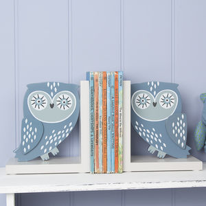 Blue Wooden Owl Bookends - bookends