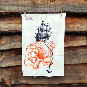 Ship And Octopus Tea Towel - kitchen accessories