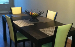 Black Dining Table Oak Parsons Design - kitchen