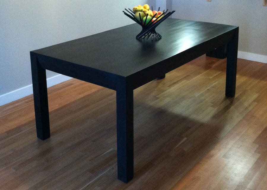 Black dining table oak parsons design by wicked boxcar for Black dining table