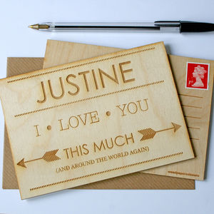 Personalised Engraved Wood Postcard - wedding, engagement & anniversary cards