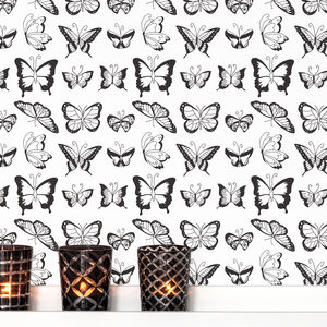 Butterfly Self Adhesive Fabric Wallpaper - wallpaper
