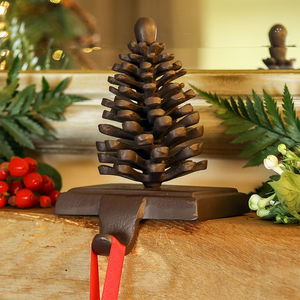 Cast Iron Pine Cone Christmas Stocking Holder - fireplace accessories