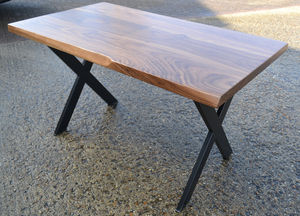Desk Solid Black Walnut X Leg Design - kitchen