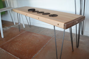 Maple Bench: Walnut Caps / Hairpin Legs