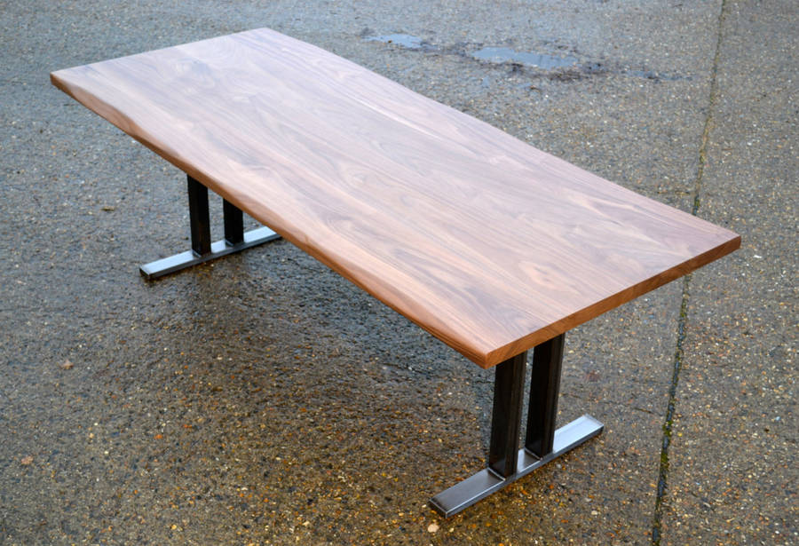 10 seater walnut dining table w steel pedestal base by for 10 seater dinning table