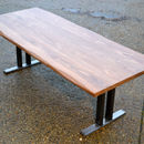 10 Seater Walnut Dining Table W/ Steel Pedestal Base