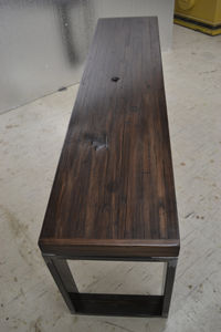 Reclaimed Oak Bench Industrial Steel Legs / Stained Oak - kitchen