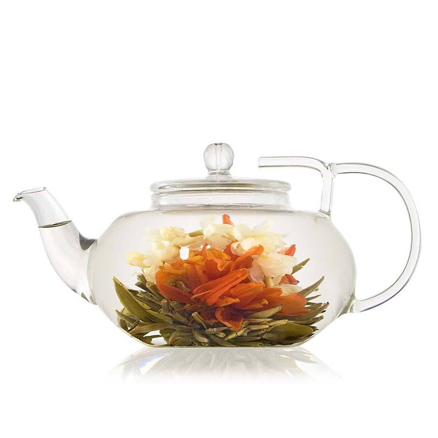 lotus flowering tea gift set with glass teapot by the ...