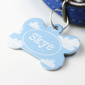 Personalised Pet Name ID Tag Bone Cloud - walking