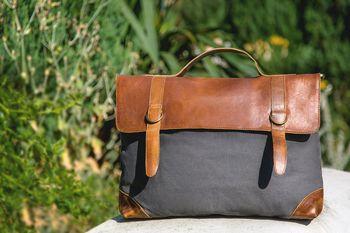 The Boston Messenger/Shoulder Bag Grey Canvas