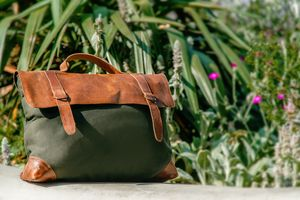 The Boston Messenger/Shoulder Bag Green Canvas 20% Off