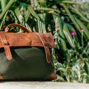 The Boston Messenger/Shoulder Bag Green Canvas 20% Off