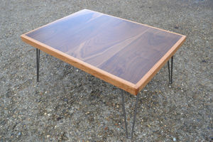 Coffee Table Solid Walnut W/ Oak Surround Hairpin Legs - furniture