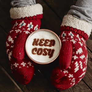 Personalised 'Keep Cosy' Hot Chocolate Stencil - teas, coffees & infusions