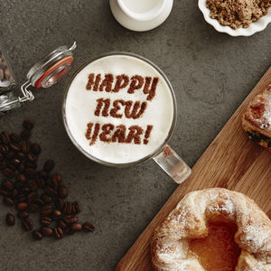 Personalised 'Happy New Year' Hot Chocolate Stencil - christmas parties & entertaining