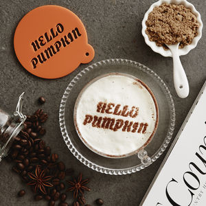 Personalised 'Hello Pumpkin' Latte Stencil - kitchen