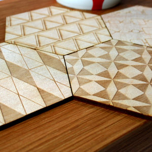 Hexagon Patchwork, Geometric Drinks Coasters