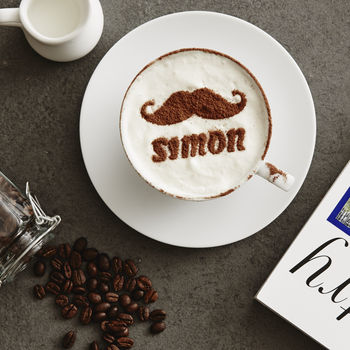 Personalised Moustache Hot Chocolate Stencil For Him