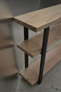 Ambrosia Maple Console Table With Industrial Steel Legs - living room