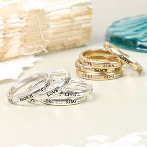 Set Of Four Meaningful Word Rings - jewellery sale