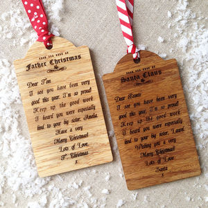 Personalised Letter From Santa Wooden Gift Tag - tree decorations