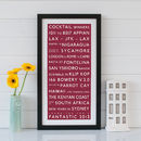 Bespoke Destination Framed Print - Red & White
