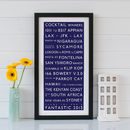 Bespoke London Bus Blind Destination Print - blue