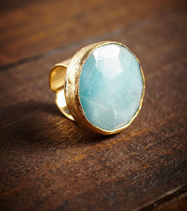 Large Aqua Semi Precious Cocktail Ring