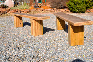 Reclaimed Oak Bench Bold Design / Chunky Base - furniture