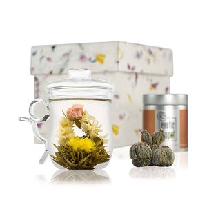 Flowering Tea Glass Infuser Mug Set - dining room