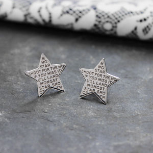 Engraved Inspirational Star Studded Earrings