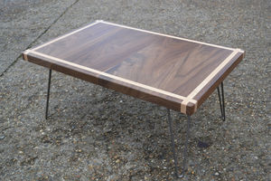 Coffee Table Solid Walnut With Maple Inlay Hairpin Legs - living room