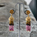 Gold Tassel Earrings With Tourmalines