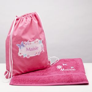 Personalised Butterfly Swim Bag With Matching Towel