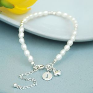Personalised Seed Pearl And Silver Heart Bracelet