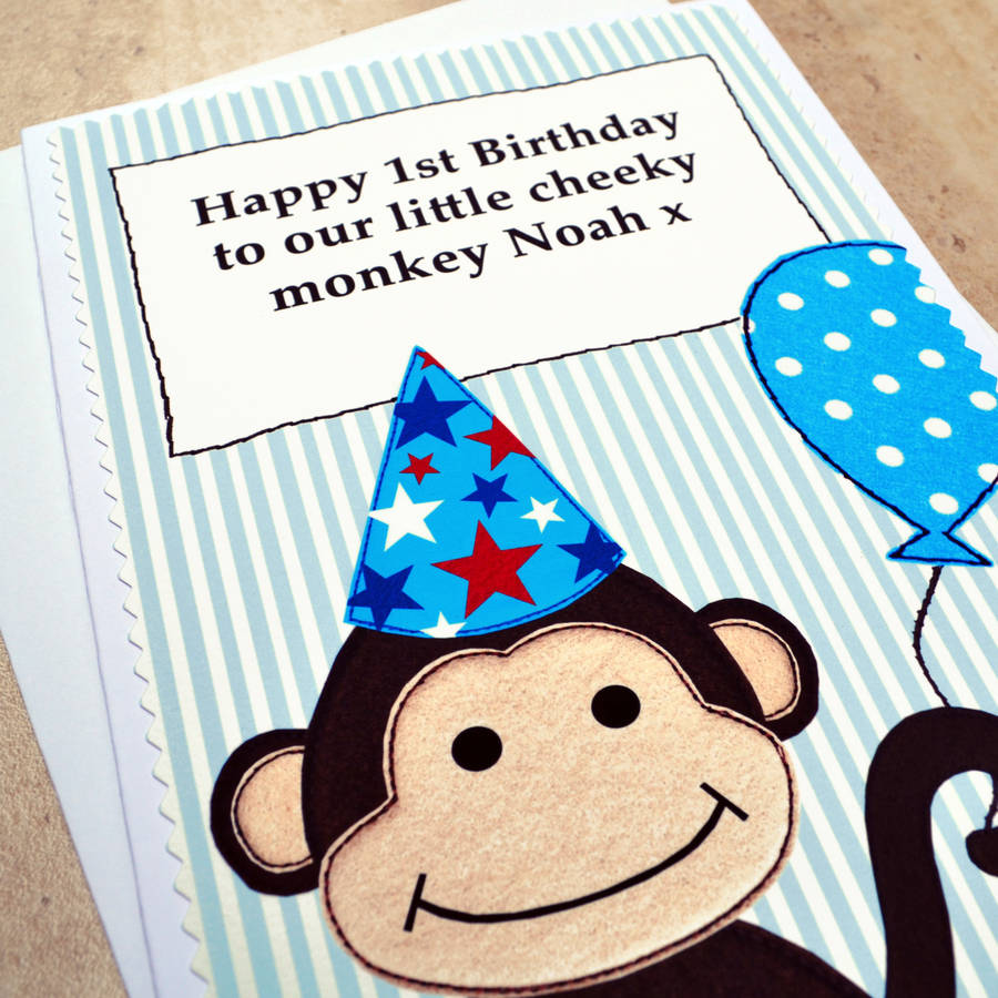 Monkey Personalised Boys Birthday Card