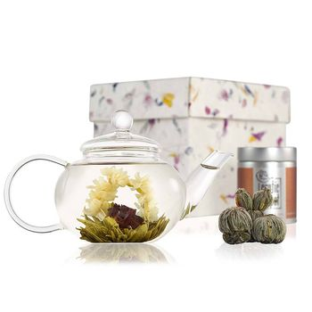 Classic Flowering Tea Gift Set With Glass Teapot
