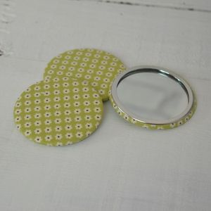 Bright Green Flowers Compact Mirror